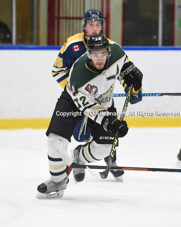 WHITBY, ON - OCT 30,  2016: Ontario Junior Hockey League game between Cobourg and Whitby, Theo Lewis #72 of the Cobourg Cougars skates after the puck during the third period.<br /> (Photo by Andy Corneau / OJHL Images)
