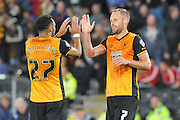 David Meyler  celebrates his goal with Ahmed Elmohamady  during the Capital One Cup match between Hull City and Swansea City at the KC Stadium, Kingston upon Hull, England on 22 September 2015. Photo by Ian Lyall.
