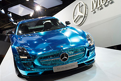 World premier of Mercedes Benz SLS AMG Electric Drive sportscar at Paris Motor Show 2012