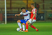 Aaron Morley wins the ball during the EFL Trophy match between Fleetwood Town and Rochdale at the Highbury Stadium, Fleetwood, England on 9 October 2018.