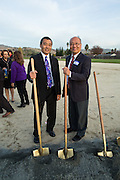 MUSD Superintendent Cary Matsuoka, left, and Milpitas Mayor Jose Esteves pose for a portrait during the Milpitas Unified School District and San Jose Evergreen Community College District Community College Extension Ground Breaking Ceremony near Russell Middle School in Milpitas, California, on November 17, 2015. (Stan Olszewski/SOSKIphoto)
