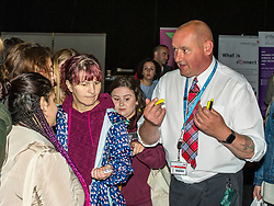 Pictured: Steve Turnbull, Security Assistant at Napier University chats to some new students<br /> <br /> Police Scotland today delivered student safety advice during freshers' weeks around the country as part of the Student Safety Campaign. Inspector David Happs was on hand in Edinburgh to speak to new students.<br /> <br /> Ger Harley: 1 September 2017
