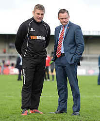 Caption correction* Weston Super Mare Manager, Micky Bell  and Doncaster Rovers Manager, Paul Dickov inspect the pitch prior to kick off. - Photo mandatory by-line: Alex James/JMP - Mobile: 07966 386802 - 08/11/2014 - SPORT - Football - Weston-super-Mare - Woodspring Stadium - Weston-super-Mare v Doncaster - FA Cup - Round One