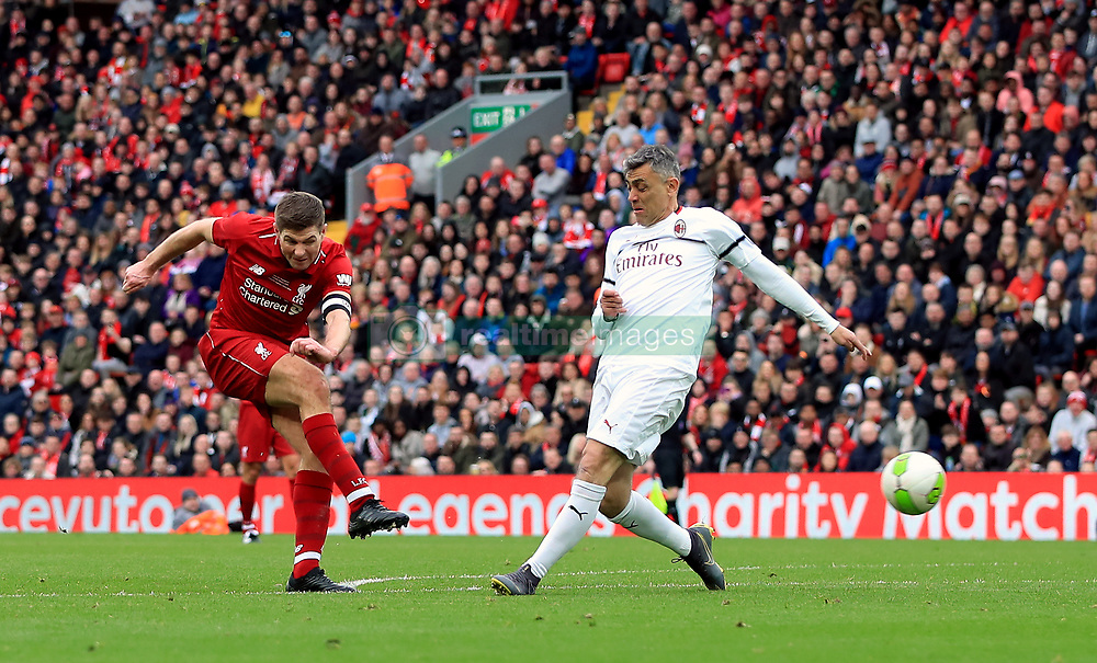 Liverpool's Steven Gerrard scores his side's third goal of the game during the Legends match at Anfield Stadium, Liverpool.
