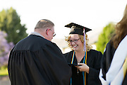 Cal Hills Class of 2012 senior Alexys Dunham accepts the Gladys Fernandes Award, recognizing exemplary school spirit, at graduation on June 15, 2012.  Photo by Stan Olszewski/SOSKIphoto.