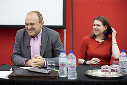 © Licensed to London News Pictures. 14/06/2019. Manchester, UK. ED DAVEY and JO SWINSON . The Liberal Democrat Party hold a leadership hustings at the St Thomas Centre in Ardwick , Manchester , between candidates Jo Swinson and Ed Davey . Photo credit: Joel Goodman/LNP