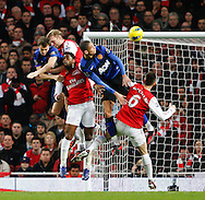Picture by Andrew Tobin/Focus Images Ltd. 07710 761829. .21/01/12. Players clash in the penalty area during the Barclays Premier League match between Arsenal and Manchester United at Emirates Stadium, London.