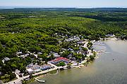 Aerial view of Ephraim, Door County, Wisconsin.