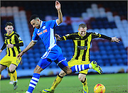 Rhys Bennett, Stuart Beavon during the Sky Bet League 1 match between Rochdale and Burton Albion at Spotland, Rochdale, England on 30 January 2016. Photo by Daniel Youngs.