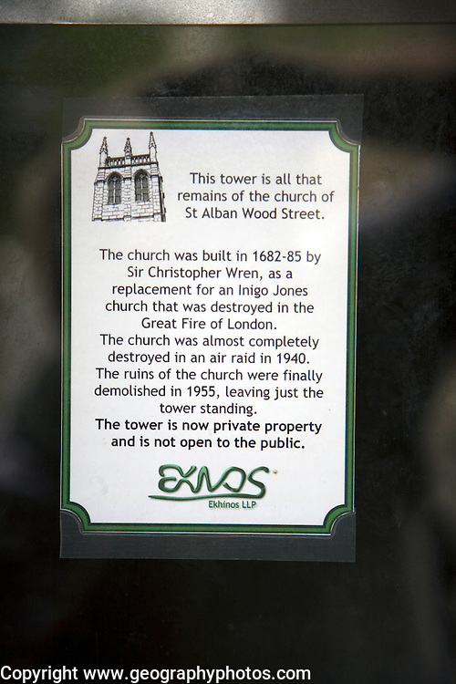 Information sign for St Alban church tower, Wood Street, London, England