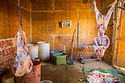 16 JUNE 2012 - GILA RIVER INDIAN COMMUNITY, PHOENIX, AZ: The killing room on Ibrahim Swara-Dahab's goat farm. Swara-Dahab, 57, left Somalia in 1993. He lived in a refugee camp in Kenya for five years before coming to the United States and settled in the Phoenix area in 2006. He got a $10,000 loan from the micro-enterprise development program for refugees. The money allowed him to buy dozens of goats and sheep, each worth $130 to $200, turning his one-sheep operation into a money-making, time-consuming herd. He now operates a full time goat ranch and slaughter house. He slaughters his goats and sheep in the Muslim halal tradition. Most of his customers are fellow refugees and Muslims who prize goat meat or eat only meat slaughtered according to halal traditions. His butchering operation is on the Gila River Indian Community, near Laveen, AZ, just southwest of Phoenix.    PHOTO BY JACK KURTZ