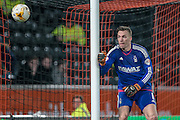 Dorus de Vries (Nottingham Forest) watches as a shot goes wide during the Sky Bet Championship match between Hull City and Nottingham Forest at the KC Stadium, Kingston upon Hull, England on 15 March 2016. Photo by Mark P Doherty.