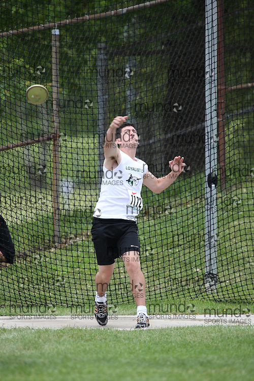 Sam Mace of Loyalist CVI - Kingston competes in the midget boys discus at the 2013 OFSAA Track and Field Championship in Oshawa Ontario, Thursday,  June 6, 2013.<br /> Mundo Sport Images / Sean Burges