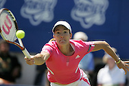 Justine Henin of Belgium in action during the Womens international open tennis tournament in Eastbourne 2007.
