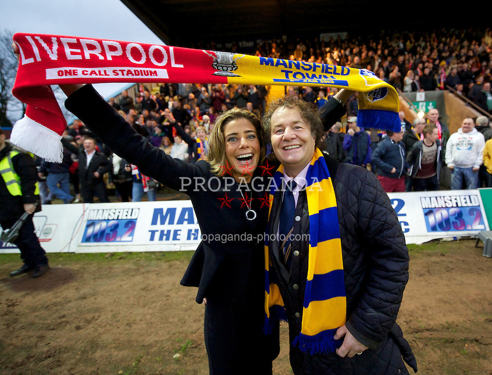 MANSFIELD, ENGLAND - Sunday, January 6, 2013: Mansfield Town's Owner & Chairman John Radford and wife Chief Executive Officer Carolyn Radford during the FA Cup 3rd Round match against Liverpool at Field Mill. (Pic by David Rawcliffe/Propaganda)