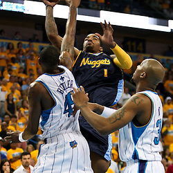 25 April 2009: during a 95-93 win by the New Orleans Hornets over the Denver Nuggets in game three of the NBA Western Conference quarter-finals playoff at the New Orleans Arena in New Orleans, Louisiana.