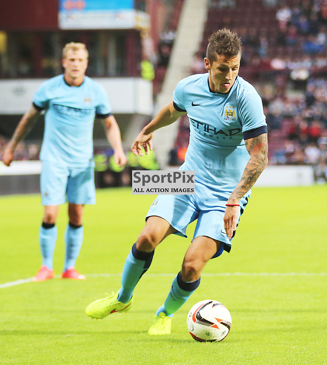 Hearts v Manchester City Pre-season Friendly 18 July 2014; Manchester City and Montenegro striker, Stevan Jovetic, dances his way into the box during the Hearts v Man City pre season friendly played at Tynecastle Stadium, Edinburgh;