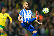 Brighton & Hove Albion full back Bruno Saltor (Captain) (2) clears the ball during the EFL Sky Bet Championship match between Norwich City and Brighton and Hove Albion at Carrow Road, Norwich, England on 21 April 2017. Photo by Simon Davies.