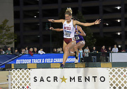 May 24, 2019; Sacramento, CA, USA; Zorana Grujic (1659) of Washington State races over the water jump in the women's steeplechase during the NCAA West Preliminary at Hornet Stadium.