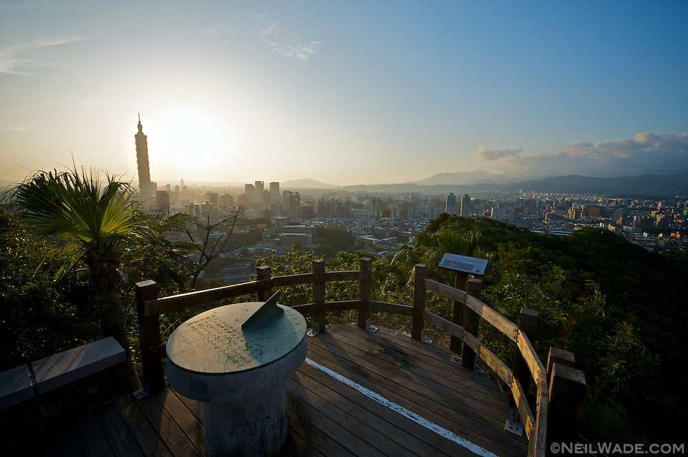 An observation platform high above Taipei, Taiwan.