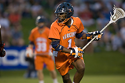 Virginia midfielder Shamel Bratton (1) in action against UMD.  The #3 ranked Virginia Cavaliers defeated the #8 ranked Maryland Terrapins 11-8 in the semi finals of the Men's 2008 Atlantic Coast Conference tournament at the University of Virginia's Klockner Stadium in Charlottesville, VA on April 25, 2008.