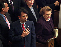 06 October 2011. New Orleans, Louisiana, USA.  <br /> Governor Bobby Jindal and former US ambassador Lindy Boggs attend the funeral of  Archbishop Philip Hannan at St Louis cathedral in Jackson Square. Archbishop Philip Matthew Hannan (May 20th, 1913 - Sept 29th, 2011). Archbishop Hannan was a decorated WWII army chaplain and served as a  member of the Vatican II Council Fathers under Pope Pius XII. The industrious and well respected Archbishop Hannan was a personal confidant of President John F Kennedy, delivering the eulogy at the assassinated President's funeral.<br /> Photos; Charlie Varley