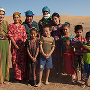 A group of young people in a remote village, Karakum Desert, Turkmenistan
