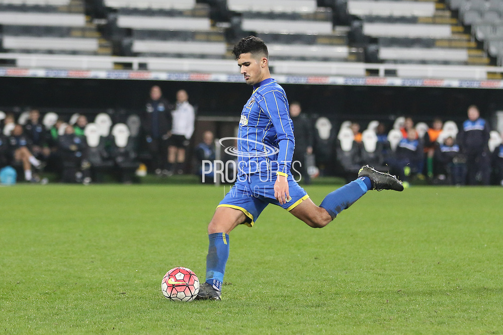 Neset Bellikli of AFC Wimbledon during the FA Youth Cup match between Newcastle United and AFC Wimbledon at St. James's Park, Newcastle, England on 6 January 2016. Photo by Stuart Butcher.