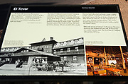 Interpretive sign at El Tovar Hotel (National Historic Landmark), Grand Canyon National Park, Arizona USA