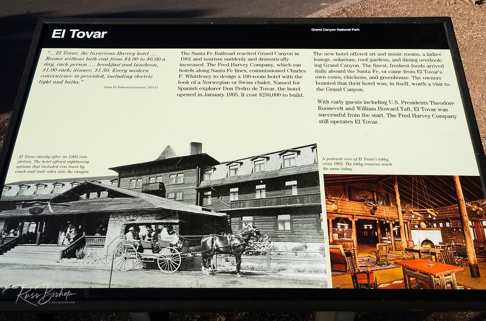 Interpretive sign at El Tovar Hotel (National Historic Landmark), Grand Canyon National Park, Arizona USA