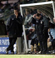 Photo: Jed Wee.<br /> Scunthorpe United v Bristol City. Coca Cola League 1. 14/02/2006.<br /> <br /> Bristol manager Gary Johnson (R) scratches his head.