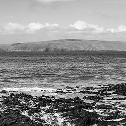 Maui Secret Cove Paako Beach Kihei Hawaii black and white panorama photo. In the background is Kaho'olawe Island Reserve along Ahihi Bay in the Pacific Ocean. Panoramic photo ratio is 1:3. Copyright ⓒ 2019 Paul Velgos with All Rights Reserved.