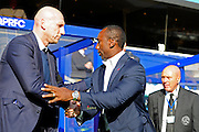 Reading Manager Jaap Stam meets Queens Park Rangers manager Jimmy Floyd Hasselbaink during the EFL Sky Bet Championship match between Queens Park Rangers and Reading at the Loftus Road Stadium, London, England on 15 October 2016. Photo by Jon Bromley.