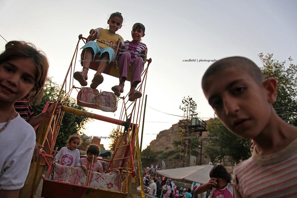 Kurdish kids playing in the old towns center of Diyarbakir, eastern Turkey.