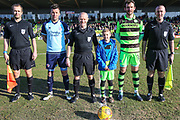 Match officials and captains during the EFL Sky Bet League 2 match between Forest Green Rovers and Crawley Town at the New Lawn, Forest Green, United Kingdom on 24 February 2018. Picture by Shane Healey.