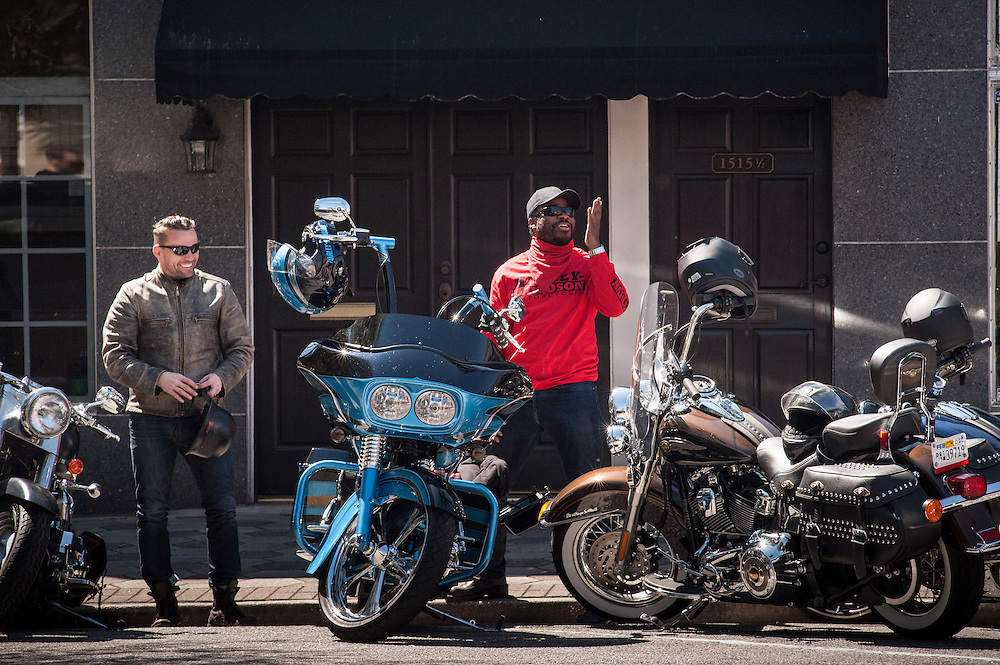 BRUNSWICK, GA -- 3/15/13 -- Malcolm Jamal Warner and Pastor Joe Basile of the Fresno First Baptist Church arrive in Brunswick, where Warner is immediately recognized by fans. Hollywood director F. Gary Gray was tapped to wear the Freedom Jacket on a ride from Atlanta to Daytona Beach for Bike Week. He brought along four friends, actor Malcolm Jamal Warner, photographer Corey Whitted, and Pastor Joe Basile...  by André Chung #AC1_6261