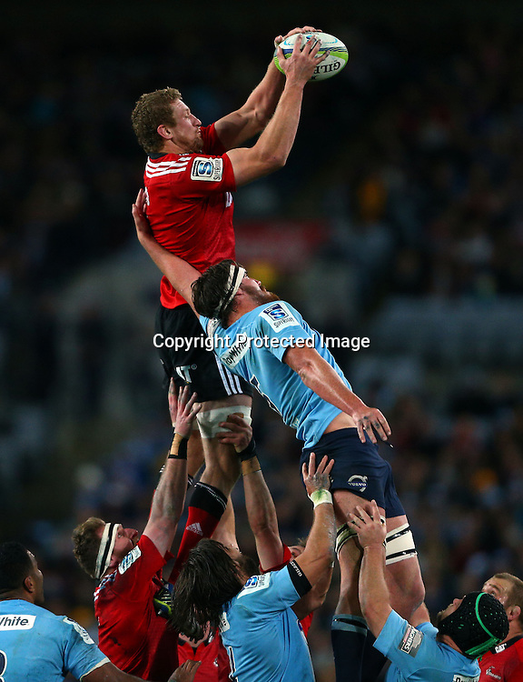 Dominic Bird of the Crusaders wins the lineout ahead of Kane Douglas of the Waratahs during the Super Rugby Final, Waratahs v Crusaders, ANZ Stadium, Sydney, Australia. Saturday 2 August 2014. Photo: Renee McKay/PHOTOSPORT