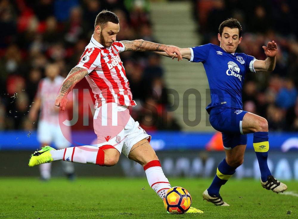 Marko Arnautovic of Stoke City fires a shot at goal  - Mandatory by-line: Matt McNulty/JMP - 01/02/2017 - FOOTBALL - Bet365 Stadium - Stoke-on-Trent, England - Stoke City v Everton - Premier League