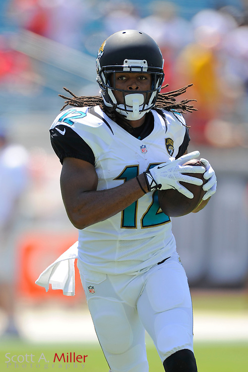 Jacksonville Jaguars wide receiver Mike Brown (12) during the Jags 28-2 loss to the Kansas City Chiefs at EverBank Field on Sept. 8, 2013 in Jacksonville, Florida. The <br /> <br /> &copy;2013 Scott A. Miller