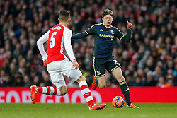 Adam Reach of Middlesbrough is challenged by Gabriel Paulista of Arsenal - Photo mandatory by-line: Rogan Thomson/JMP - 07966 386802 - 15/02/2015 - SPORT - FOOTBALL - London, England - Emirates Stadium - Arsenal v Middlesbrough - FA Cup Fifth Round Proper.