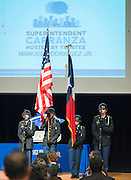 The JROTC color guard performs during a stop of Superintendent Richard Carranza's Listen & Learn Tour of the district at Chavez High School, September 15, 2016.