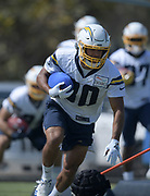 Aug 14, 2019; Costa Mesa, CA, USA: Los Angeles Chargers running back Austin Ekeler (30) carries the ball during training camp at the Jack Hammett Sports Complex.