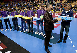 Franjo Bobinac and coach of U-21 National team Slavko Ivezic during handball match between National teams of Slovenia and Portugal in the Qualifications of the EHF EURO 2012, on October 27, 2010 at Arena Zlatorog, Celje, Slovenia. Slovenia defeated Portugal 34 - 31.(Photo By Vid Ponikvar / Sportida.com)