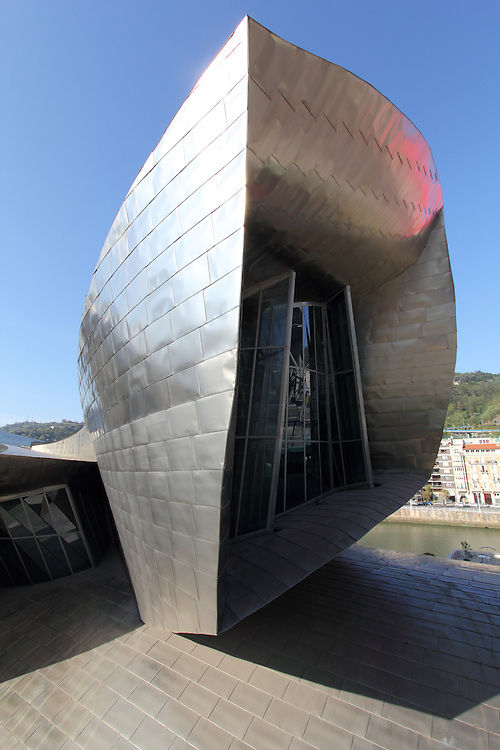 Detail from the titanium walls and windows of the Guggenheim museum in Bilbao.