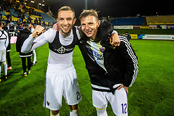 Dare Vrsic of NK Maribor and Jasmin Mesanovic of NK Maribor posing after winning national championship during Football match between NK Celje and NK Maribor in 33th Round of Prva liga Telekom Slovenije 2018/19, on May 15th, 2019, in Stadium Celje, Slovenia. Photo by Grega Valancic / Sportida