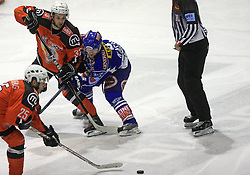 Phillipe Jean Pare (32) and Roland Kaspitz (8) at ice hockey match Acroni Jesencie vs EC Pasut VSV in EBEL League,  on November 23, 2008 in Arena Podmezaklja, Jesenice, Slovenia. (Photo by Vid Ponikvar / Sportida)