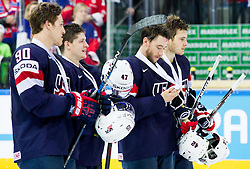 Anders Lee of USA, Torey Krug of USA, Dan Sexton of USA and Dylan Larkin of USA with bronze medals after winning during Ice Hockey match between USA and Czech Republic at Third place game of 2015 IIHF World Championship, on May 17, 2015 in O2 Arena, Prague, Czech Republic. Photo by Vid Ponikvar / Sportida