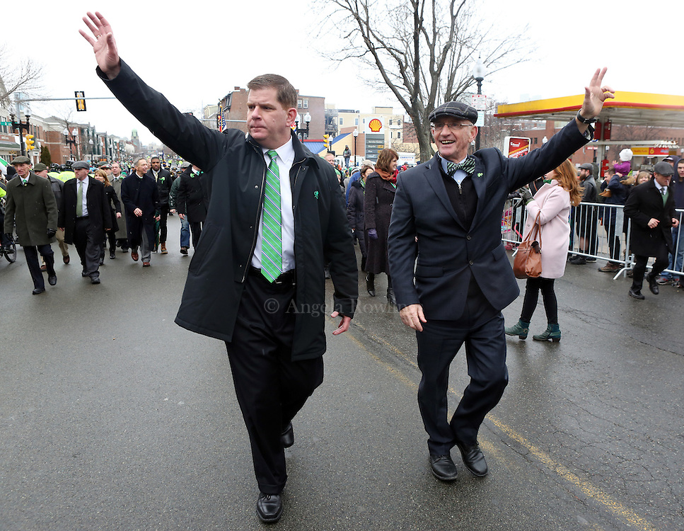 (Boston, MA - 3/15/15) Mayor Martin Walsh and City Council President Bill Linehan march during the St. Patrick's Day Parade in South Boston, Sunday, March 15, 2015. Staff photo by Angela Rowlings.
