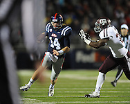 Ole Miss quarterback Bo Wallace (14) runs vs. Texas A&M in Oxford, Miss. on Saturday, October 6, 2012. Texas A&M won 30-27...