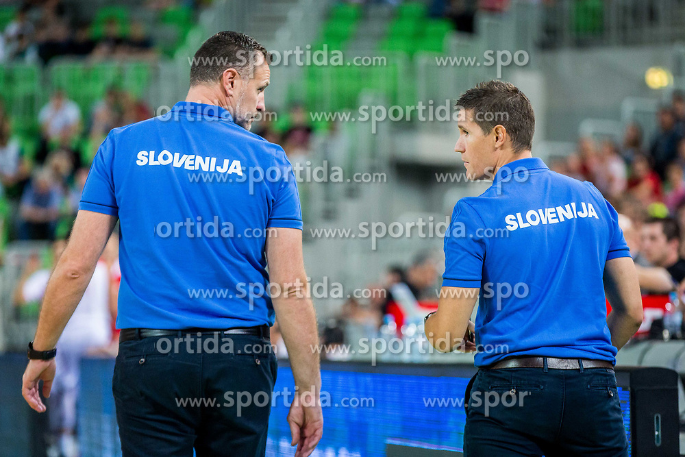 Radoslav Trifunovic, Head coach of Slovenia and Jaka Lakovic, Coach of Slovenia during basketball match between National teams of Slovenia and Turkey in Round #8 of FIBA Basketball World Cup 2019 European Qualifiers, on September 17, 2018 in Arena Stozice, Ljubljana, Slovenia. Photo by Ziga Zupan / Sportida
